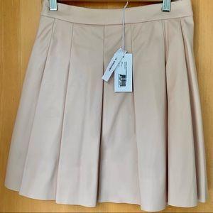 NWT Derek Lam blush pink pleather pleated skirt
